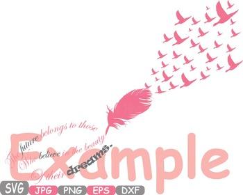Feathers Dream Love clip art flying birds lyrics memorial quote Valentine -211s