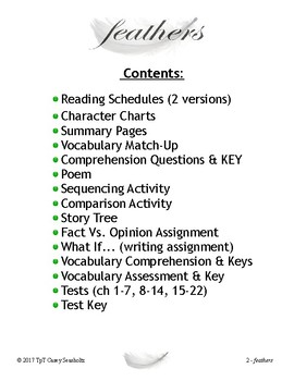 Feathers by J. Woodson: Tests, Printables, Activities, Vocabulary, ZipGrade