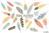 Tribal Feathers Pastel PNG Clip Art for Commercial Projects