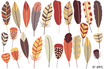 Tribal Feathers Earthtone PNG Clip Art for Commercial Projects