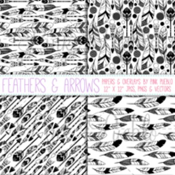 Feathers and Arrows Digital Paper Pack, Feather Arrows Seamless Background