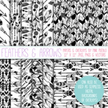 Feathers and Arrows Digital Paper Pack, Feather Arrows Sea
