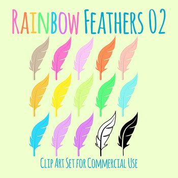 Feathers in Rainbow Colors 2 Clip Art Set for Commercial Use