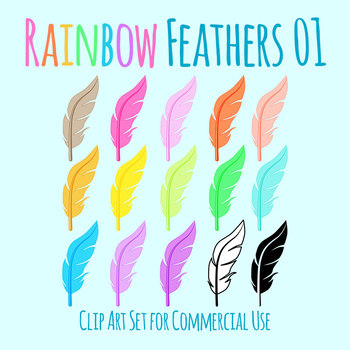 Feathers in Rainbow Colors Clip Art Set for Commercial Use