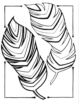 Feathersly Simple Feather Art Coloring Page for Fall Summer