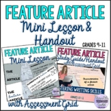 Feature Article Mini Lesson and Matching Study Guide Hando