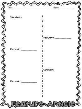 Feature Article Planning Template-Elementary