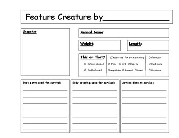 Feature Creature: Animal research lapbook