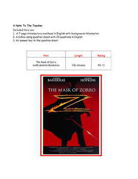 Feature * Film ~ The Mask of Zorro