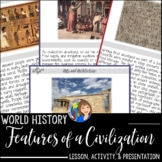 World History Features of a Civilization Activity and Game