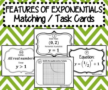 Features of Exponential Functions - TASK CARDS / MATCHING ACTIVITY