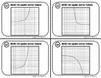 TASK CARDS / MATCHING ACTIVITY - Algebra - Features of Exponential Functions