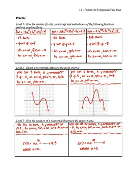 Features of Polynomial Functions Notes Key