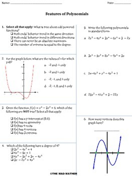 Features of Polynomials Quiz/Assessment