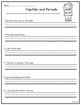 Features of Sentences {No Prep Printables}