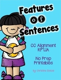 Features of Sentences {No Prep Printables}