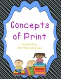 Concepts of Print / Features of Text Graphic Organizer Labels