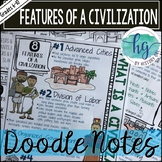 Features of a Civilization Doodle Notes and Digital Guided Notes