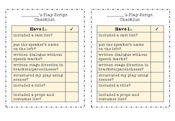 Features of a Play Script Checklist