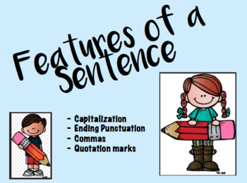 Features of a Sentence PPT Powerpoint Capitalization Punctuation TEKS