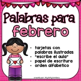 February Vocabulary Words in SPANISH - Febrero