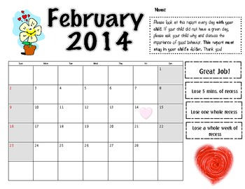February 2014 Behavior Log