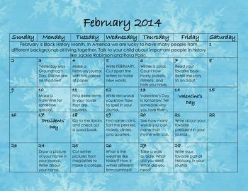February 2014 Homework Calendar