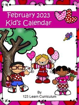 February 2018 Kids Calendar