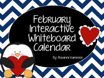 February 2018 Interactive Whiteboard Calendar