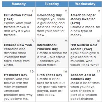 February 2016 Activity Calendars