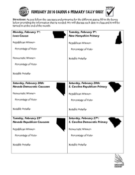 February 2016 Caucus and Primary Tally Sheet