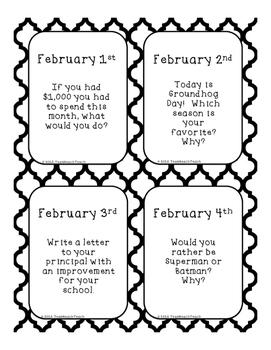 February 2016 Writing Prompts Calendar & Task Cards Grades K-3