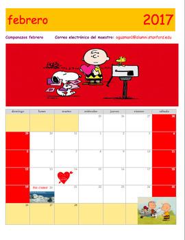 February 2017 Calendar in Spanish. Calendario Gratis de febrero 2017 en español