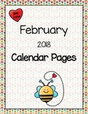 February 2018 Calendar Pages