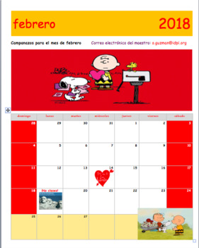 February 2018 Calendar in Spanish. Calendario febrero 2018 en español.