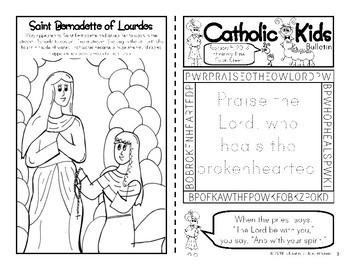 February 2018 Catholic Kids Bulletin with Weekly Saints