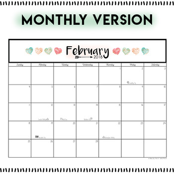 February 2018 Printable Monthly, Weekly, and Hourly Calendars - FREEBIE