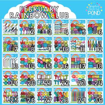 February 2018 Rainbow Club Clipart Bundle