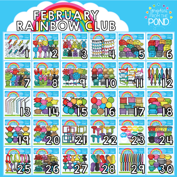 February 2018 Rainbow Club Clipart Bundle