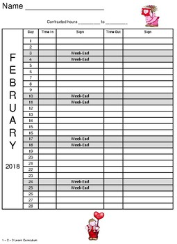 February 2018 Sign In Sheet