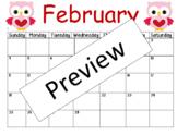February 2018 blank editable printable calendar