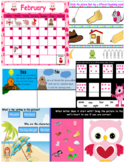 February 2018 interactive whiteboard calendar with ELA, Math, and SS skills