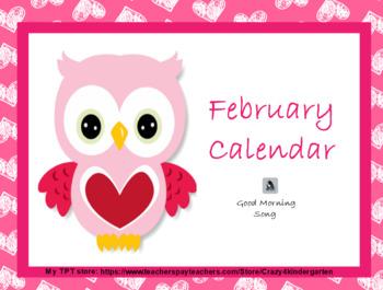 February 2018 interactive whiteboard calendar with ELA, Math, and SS skills