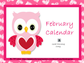 February 2018 interactive whiteboard calendar with ELA and Math skills