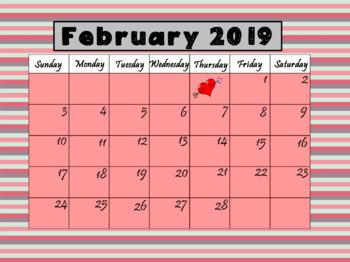 Teachers Calendar February 2019 February 2019 Calendar by LOLLIPOP LEARNING | Teachers Pay Teachers