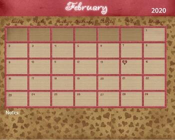 February 2019 Calendar - 8x12