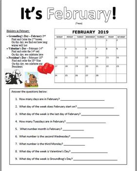 February 2019 Calendar 4 Of Each Day February 2019 Calendar Practice Pages by MsWilliamsClass | TpT
