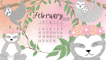 February 2019 FREE Sloth Computer Wallpaper by Taracotta Sunrise