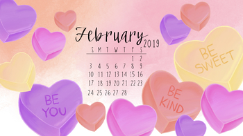 February 2019 Valentine's Day Computer Wallpaper by Taracotta Sunrise