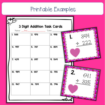February 3 Digit, No Regrouping Addition Task Cards